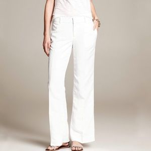 Banana Republic White Tailored Wide Leg Trousers 2